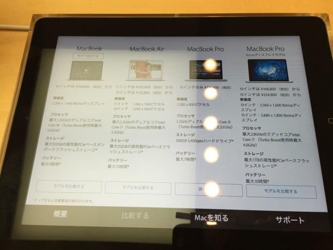 Macbookの製品比較