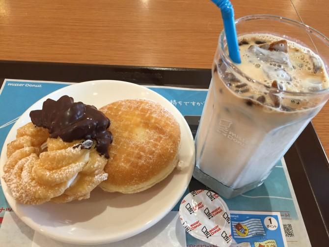 ミスド/エンゼルクリーム+エンゼルフレンチ+氷コーヒー