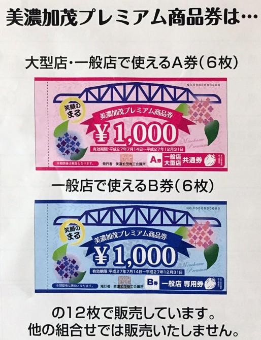 美濃加茂プレミアム商品券/A券・B券
