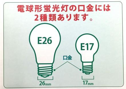 電球形蛍光灯の口金は2種類(E26/E17)