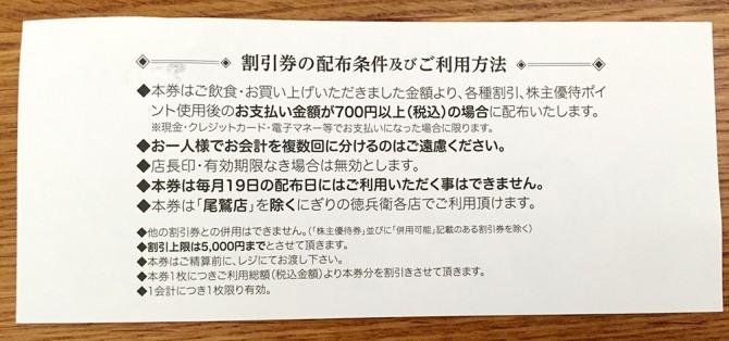 にぎりの徳兵衛/19%割引券(裏面)