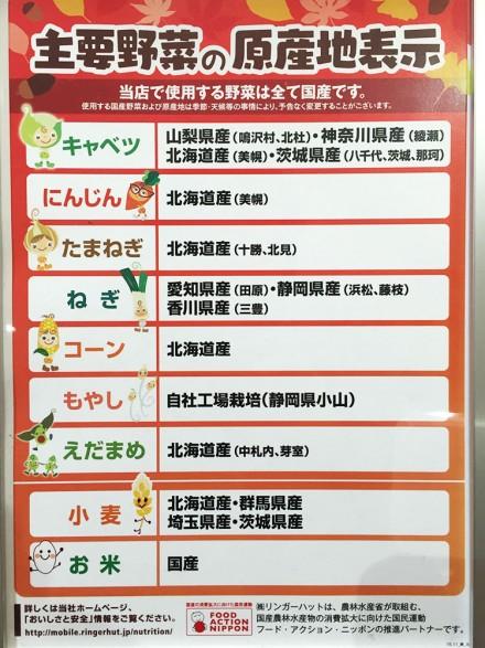 長崎ちゃんぽんリンガーハット/主要野菜の原産地表示