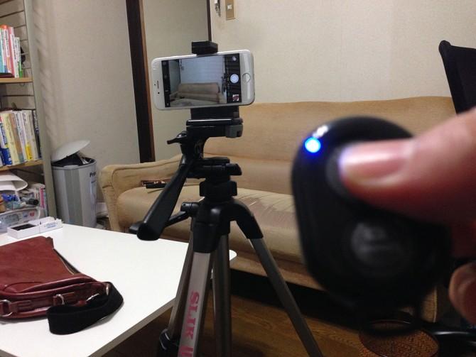 カメラシャッターリモコンコントロール+三脚+iPhone