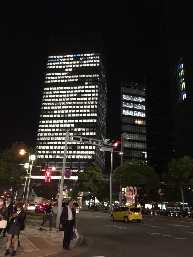 名駅の夜景/高層ビル