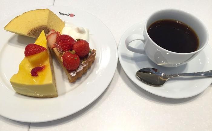 たんどーる/ケーキ2種+バームクーヘン+生クリーム+ホットコーヒー