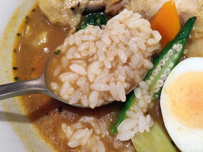やわらかチキンと野菜のカリー/ご飯をスープに投入