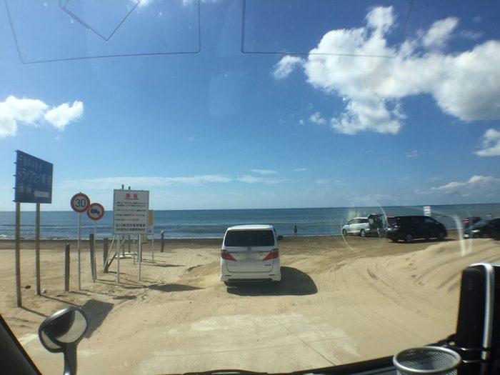 千里浜なぎさドライブウェイの南(宝達志水町)のスタート地点