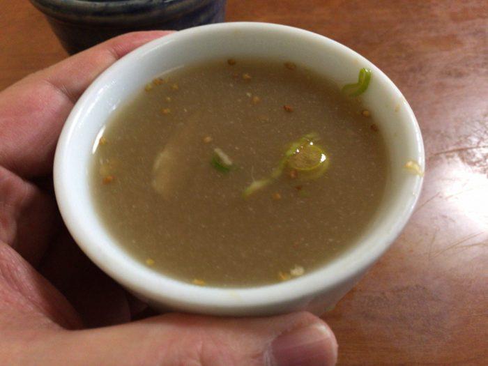 蕎麦湯を飲みます