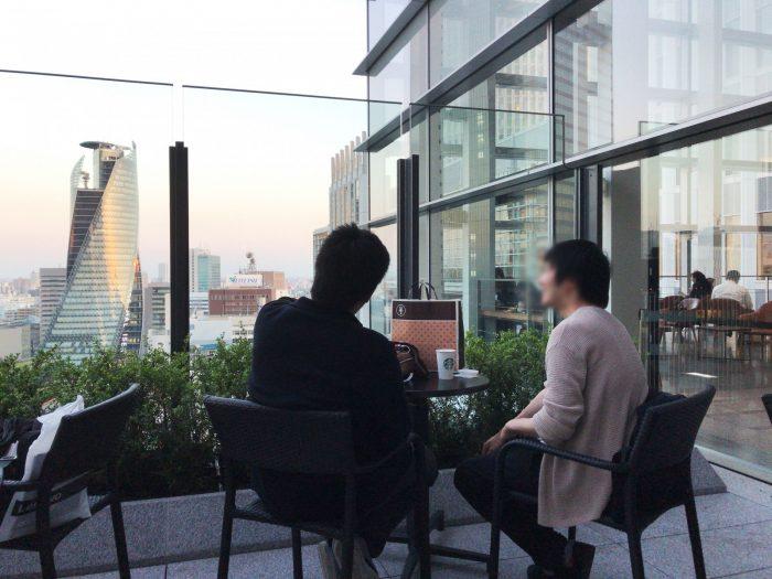 スターバックス(名古屋JRゲートタワー店)の屋上テラス席