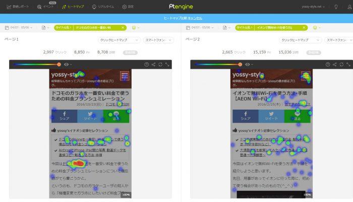 Ptengineのヒートマップツールの画面