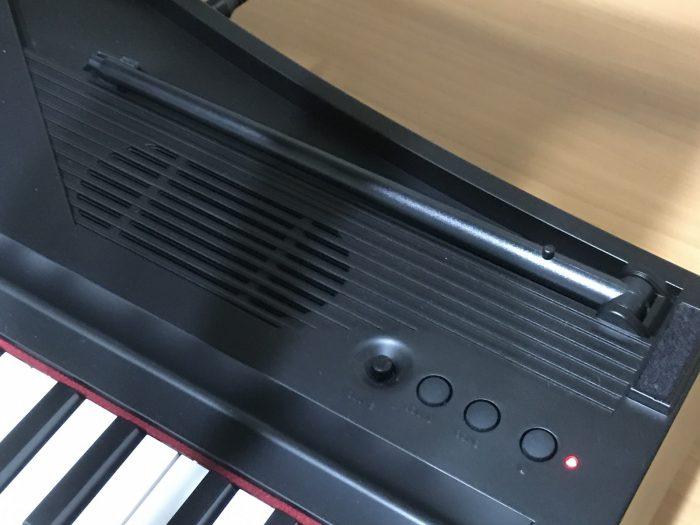 KORG microPIANOの操作ボタン+支え棒