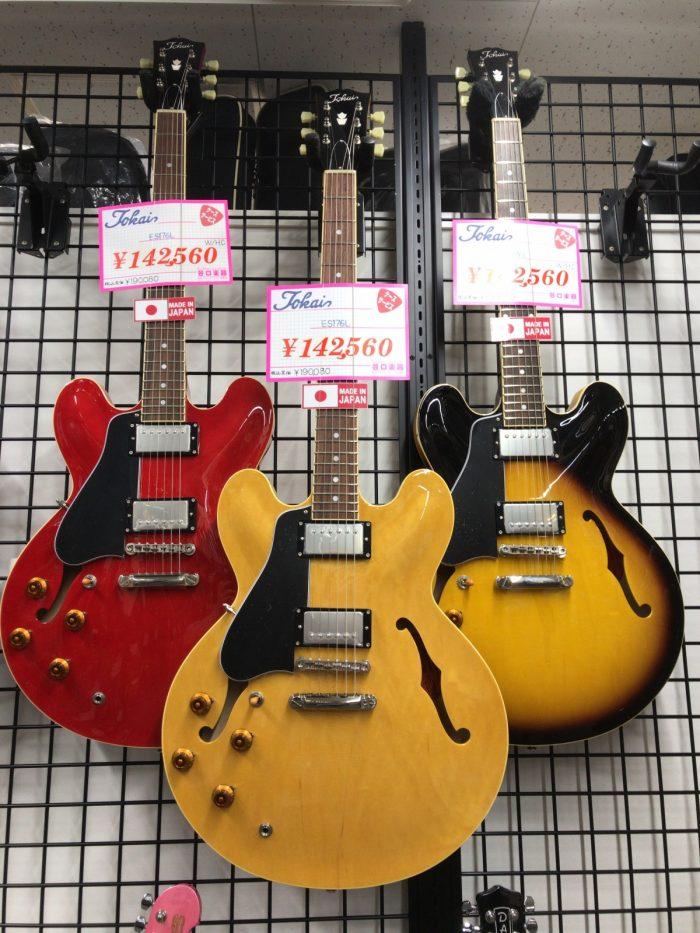 TokaiのES335タイプのレフティーギター