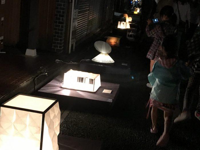 夜のあかりオブジェ 美濃和紙あかりアート展