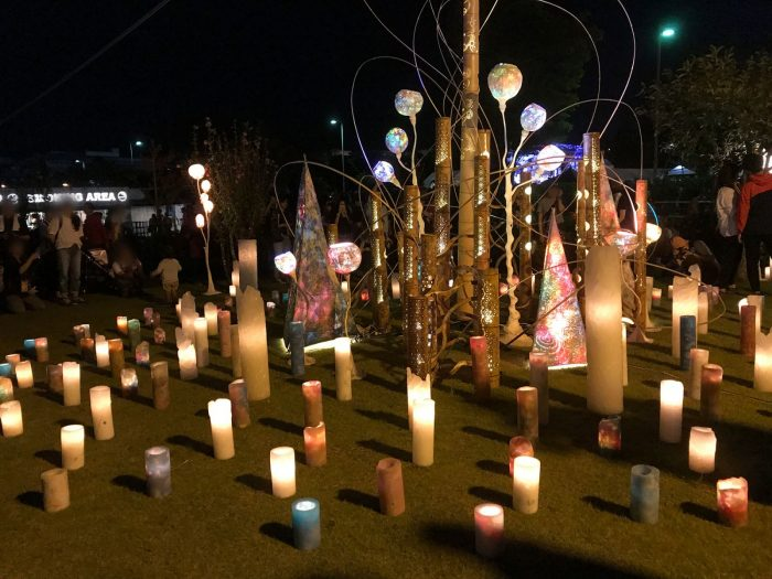 夜のライトアップ|中津川ソーラー