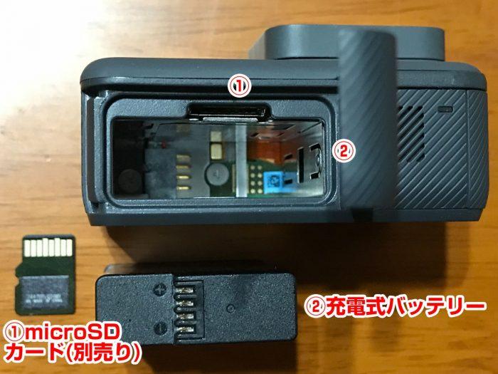 microSDカードと充電式バッテリーのGoPro本体装着場所
