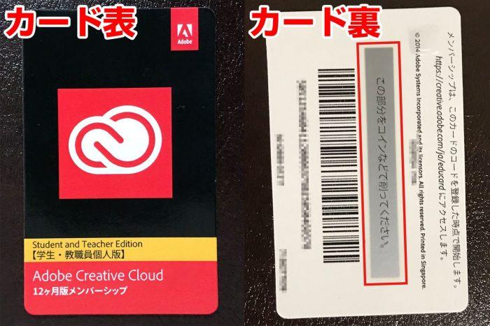 Adobe Creative Cloudのソフトウェアダウンロードカード