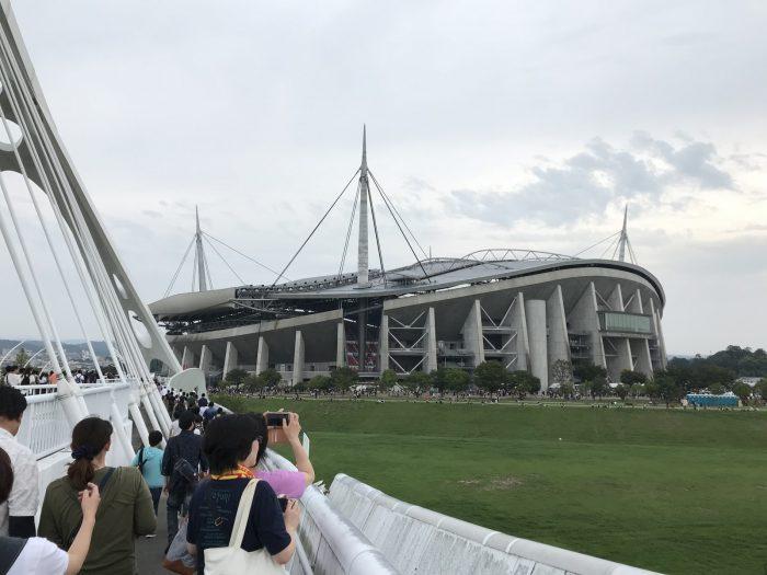 豊田大橋から見える豊田スタジアム