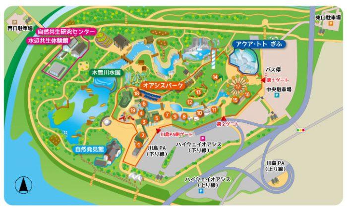 オアシスパークの園内マップ