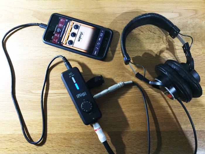 iRig PRO I/O接続図(ギターシールド・iPhone・ヘッドフォン)